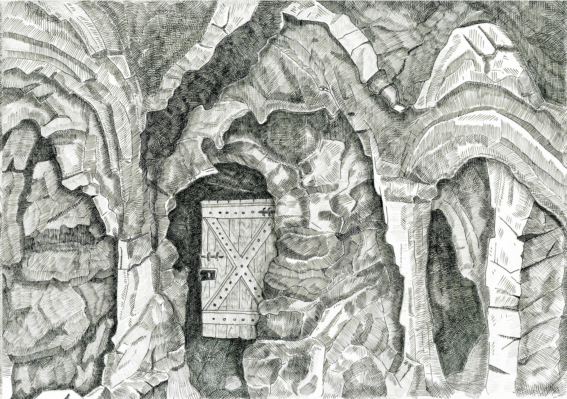 Caves with Door, 2015. Ink pen and pencil on paper, 21 × 29.7 cm
