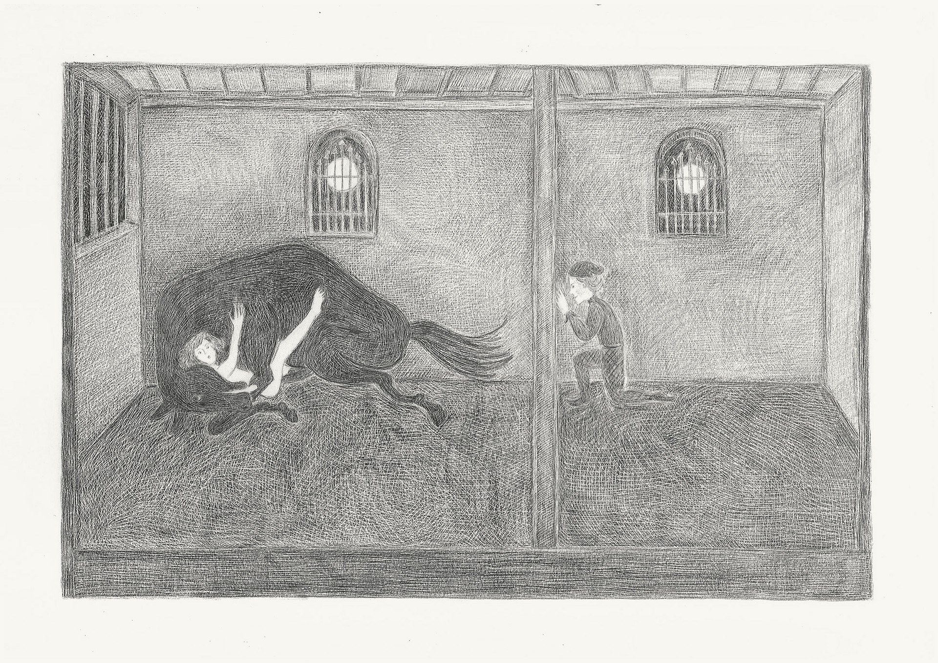 The Girl, the Horse and the Lover, 2012. Pencils on paper, 29.7 × 42 cm