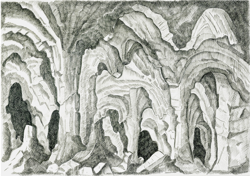 Caves, 2015. Ink pen and pencil on paper, 21 × 29.7 cm