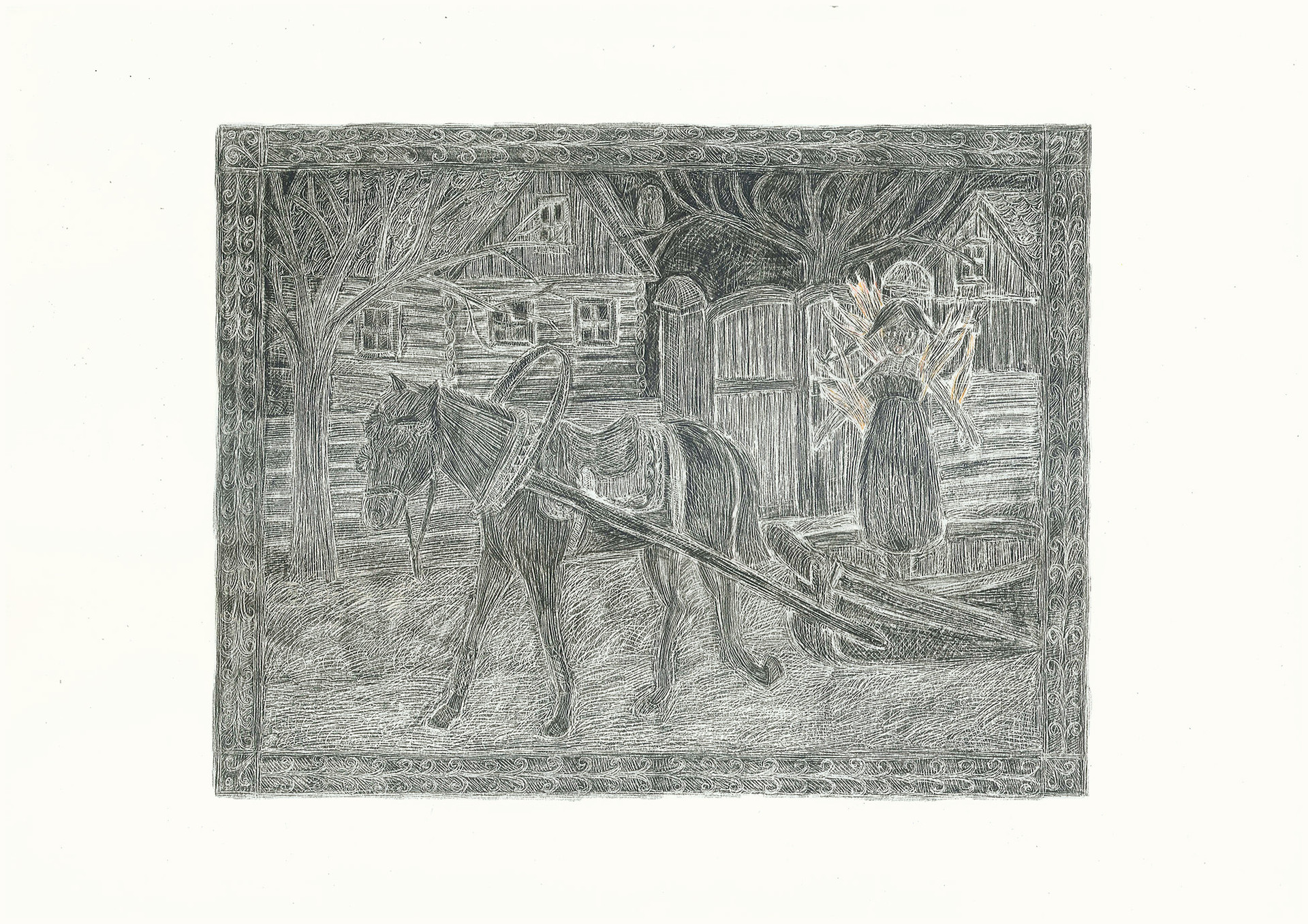 Burning Girl in a Horse Carriage 2012. Pencils on paper, 29.7 × 42 cm
