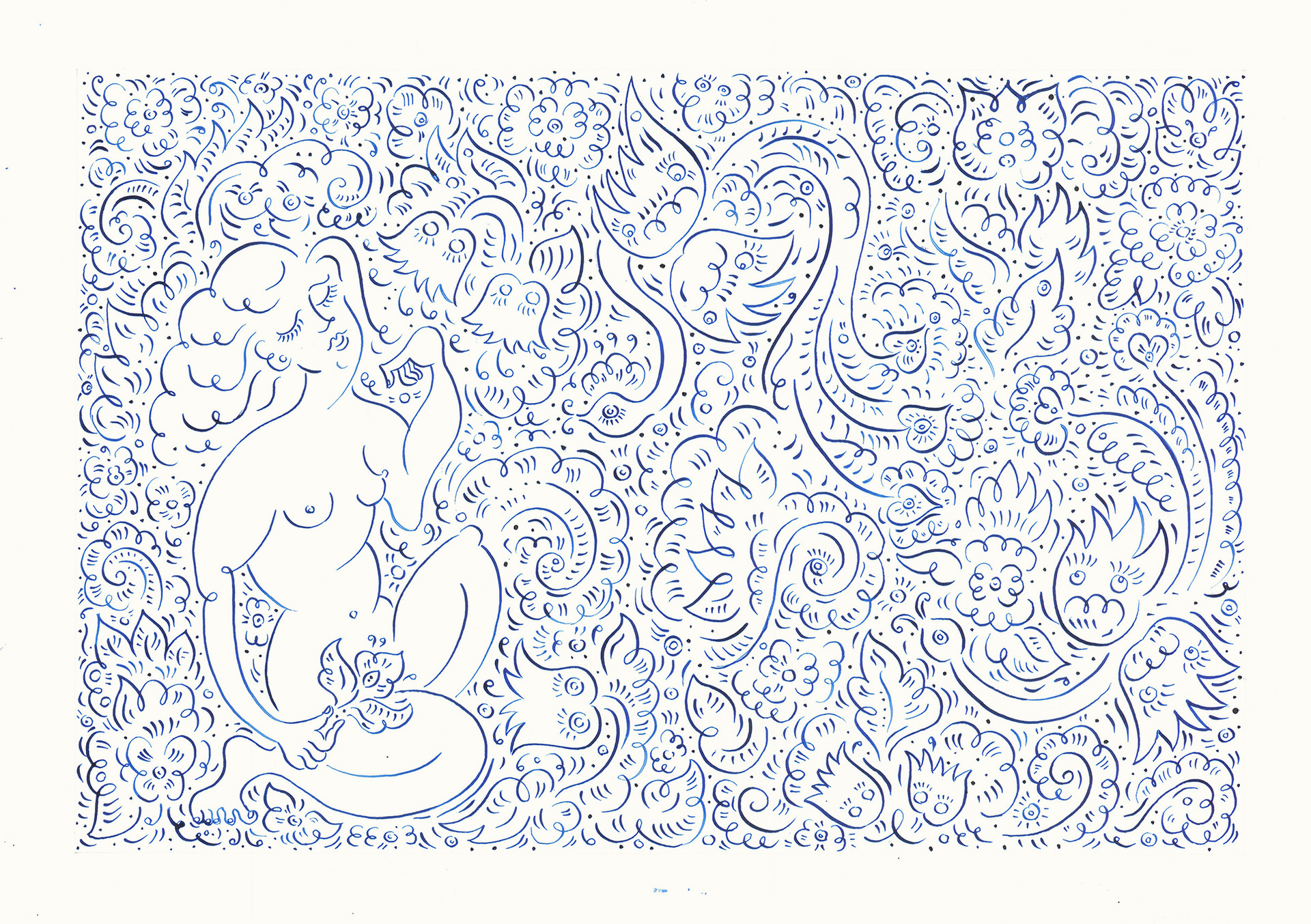 Girl with Birds, 2015. Ink on paper, 29.7 × 42 cm
