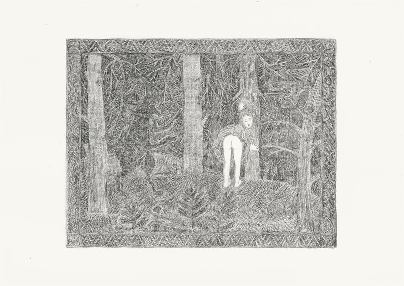 Girl and Goat, 2012. Pencils on paper, 29.7 × 42 cm