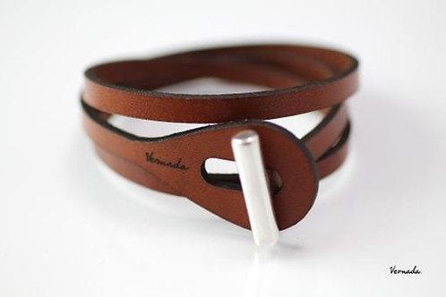 Vernada® Design -kieputettava nahkarannekoru, SALPA, sileä, ruskea