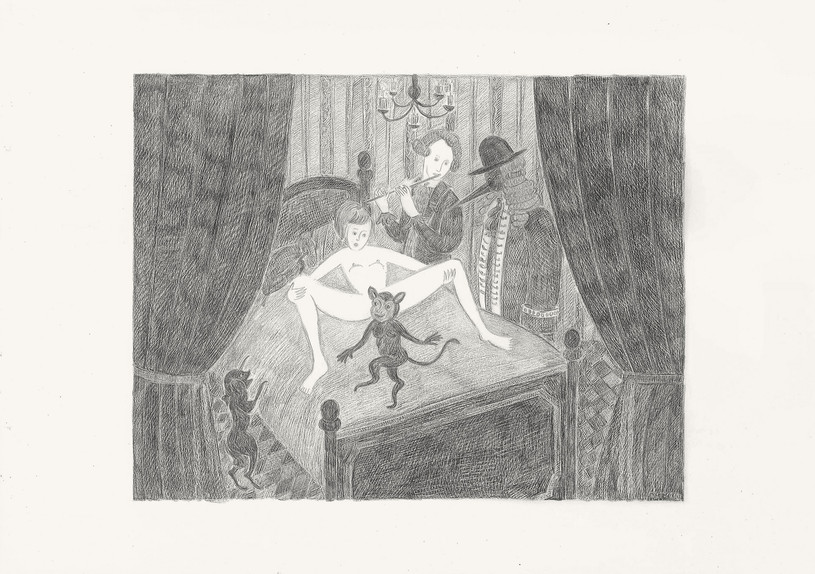 In the City, 2012. Pencils on paper, 29.7 × 42 cm