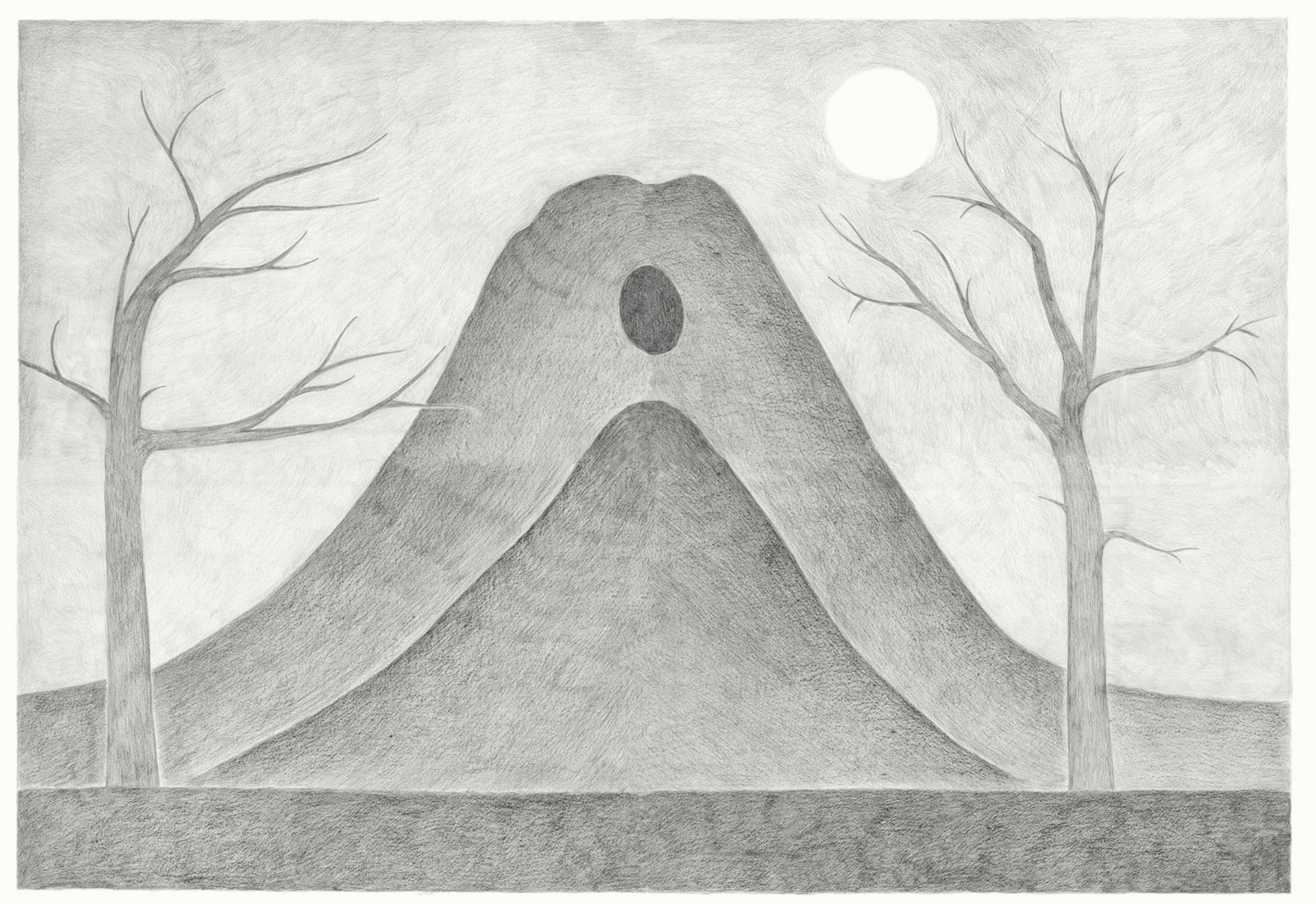 Two Mountains with Cave, 2013. Pencils on paper, 94 × 118 cm
