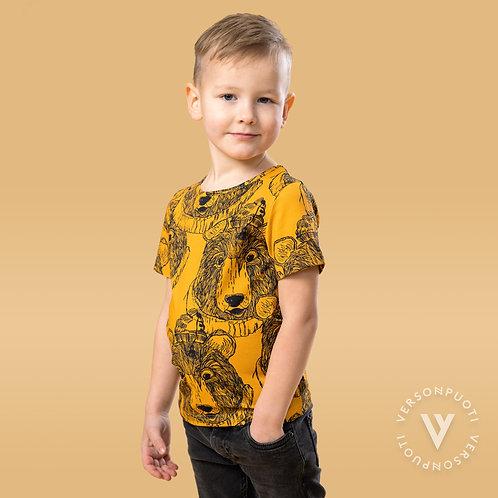 MUKAVA T-paita, otso keltainen trikoo (Verson Puoti)