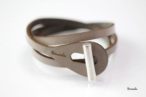 Vernada® Design -kieputettava nahkarannekoru, SALPA, sileä, harmaa