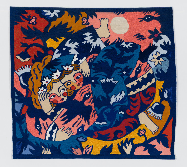 The Lovers, Part I, 2015-6. Handmade woven tapestries, cotton, wool, 84 x 90 cm