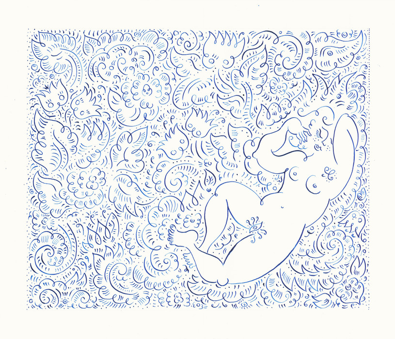 Girl Sleeping, 2015. Ink on paper, 29.7 × 42 cm