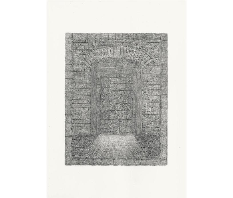 Sealed Door, 2012. Pencils on paper, 42 × 29.7 cm