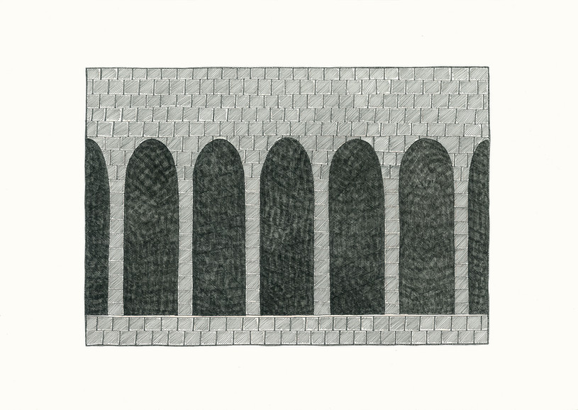 Arches, 2014. Ink pen and pink pencils on paper, 29.7 × 42 cm