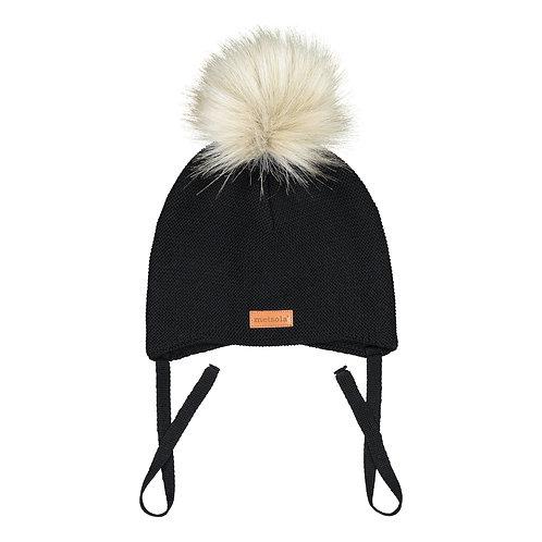 Merinowool Baby Beanie Fur, 1 pompom, black