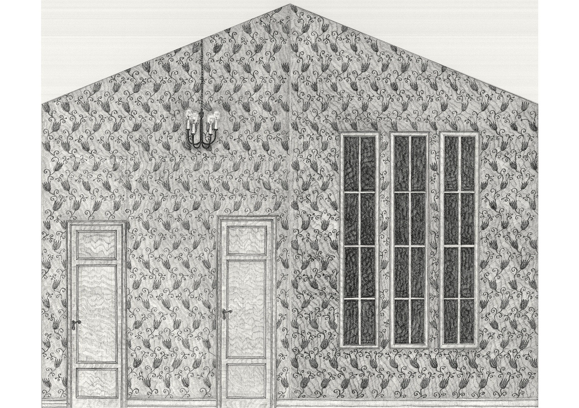 Room with Windows (Dreaming House), 2015. Ink pen and pencil on paper, 41.5 × 50.5 cm