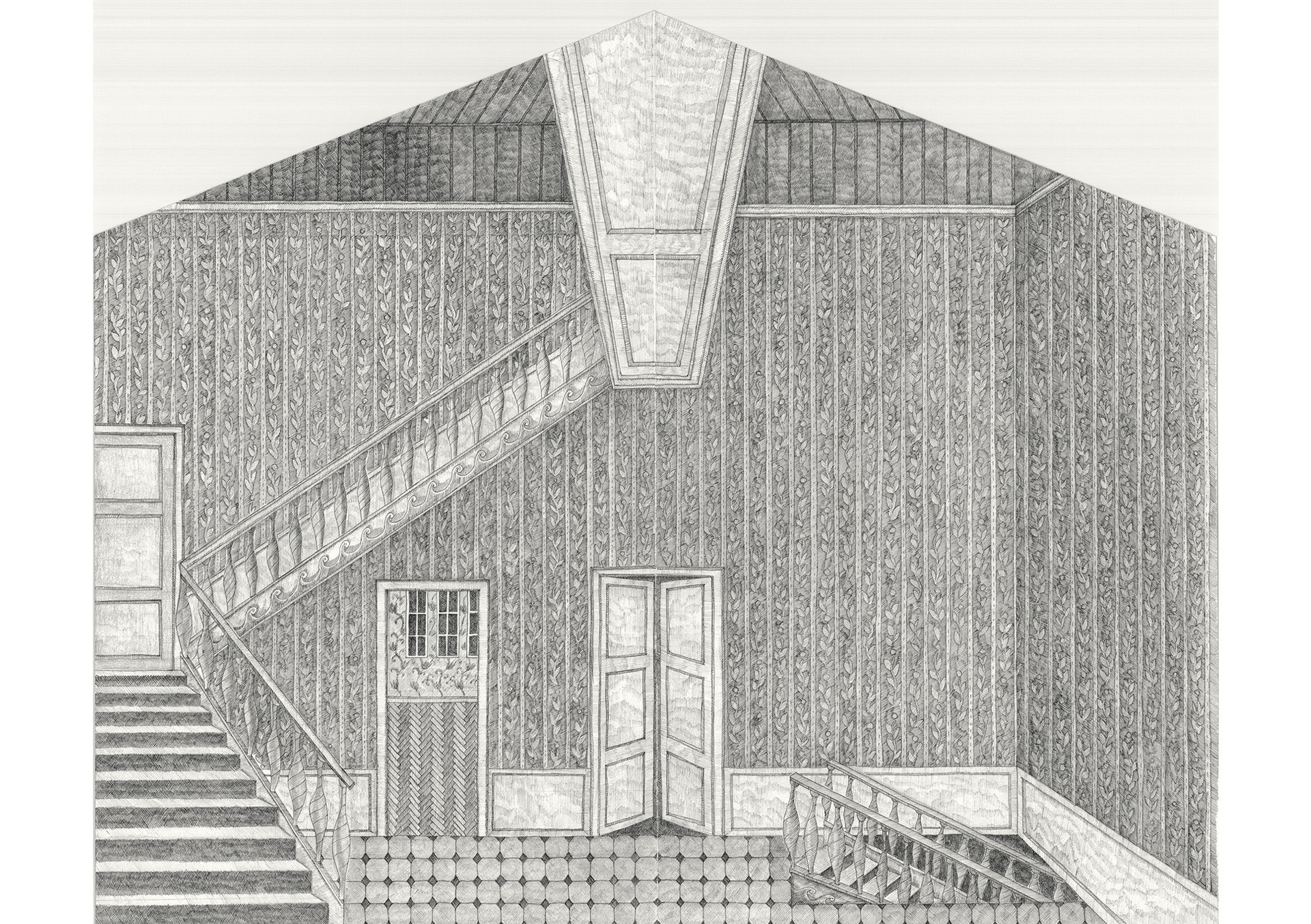 Room with Stairs (Dreaming House), 2015. Ink pen and pencil on paper, 41.5 × 50.5 cm