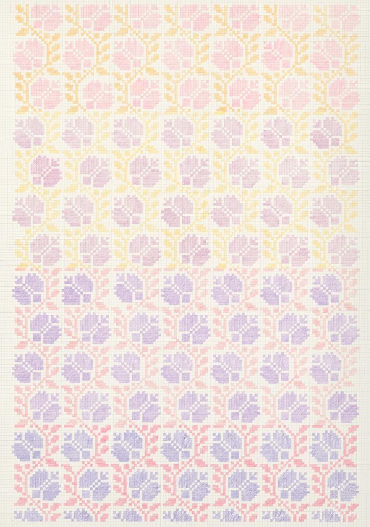 Flower Field XVI, 2020. Pencils on paper, 102 × 72 cm