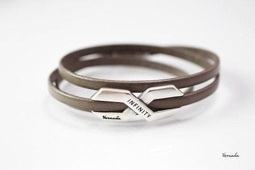 Vernada Design -nahkakäsikoru INFINITY, kapea, sileä, harmaa