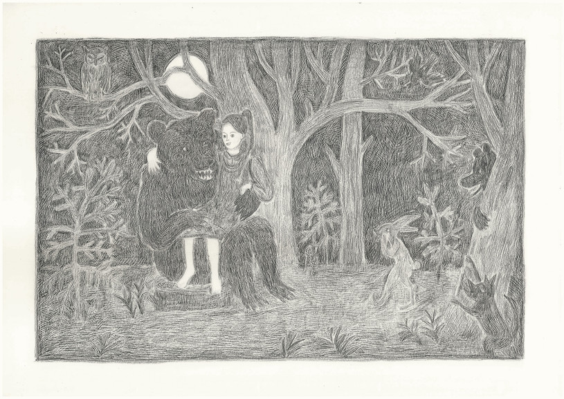 Girl meets a Bear in the Wood, 2012. Pencils on paper, 29.7 × 42 cm