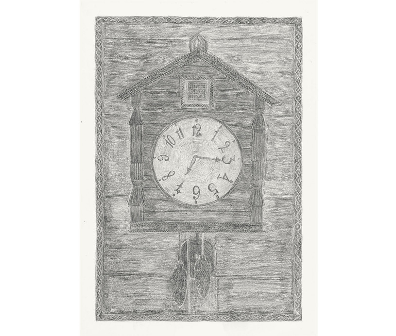 Cuckoo Clock, 2012. Pencils on paper, 42 × 29.7 cm