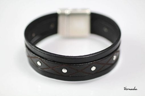 Vernada® Design -nahkaranneke, 20mm, NIITTI, musta