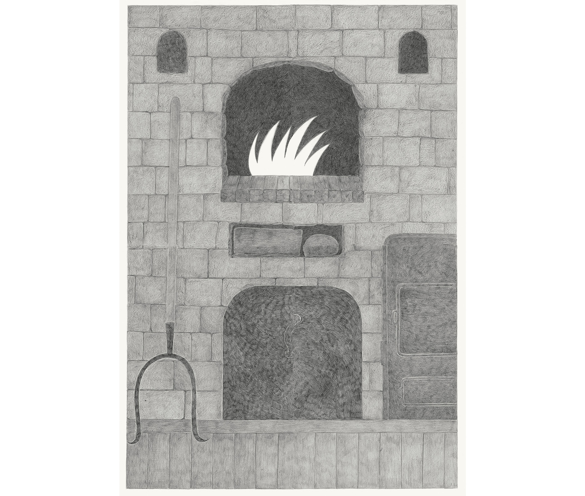 Oven, 2013. Pencils on paper, 118 × 94 cm