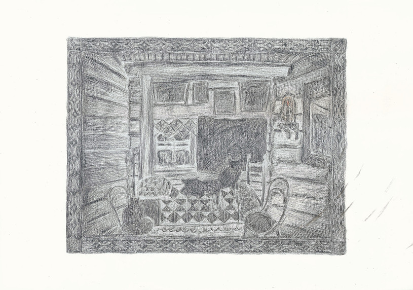 Old Woman's Cats, 2012. Pencils on paper, 29.7 × 42 cm