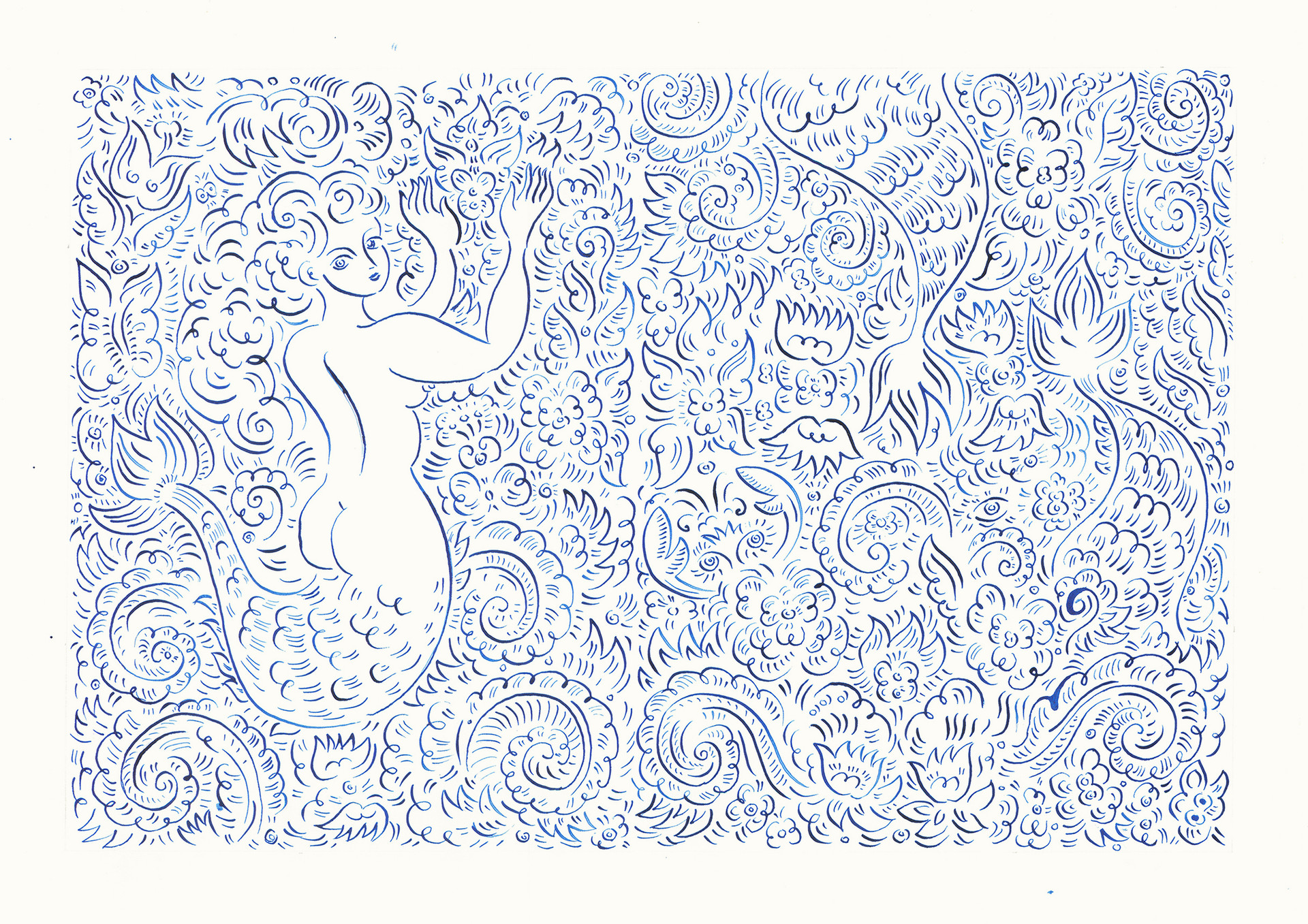 Mermaid with Crabs, 2015. Ink on paper, 29.7 × 42 cm