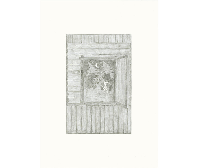 Two Bears Playing with a Girl, 2013, pencils on paper, 59.4 × 42 cm