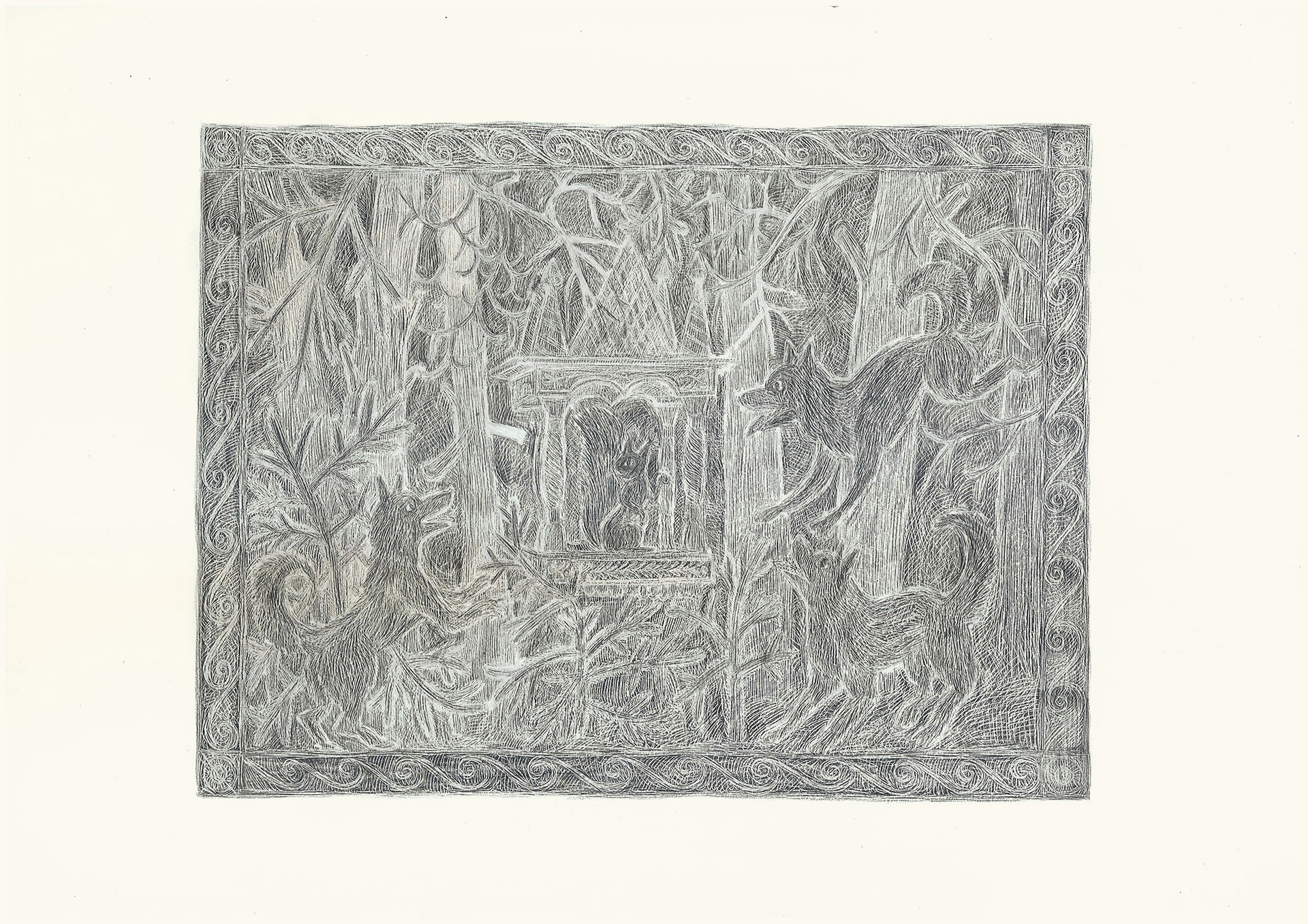 Dogs Barking at Squirrel, 2012. Pencils on paper, 29.7 × 42 cm