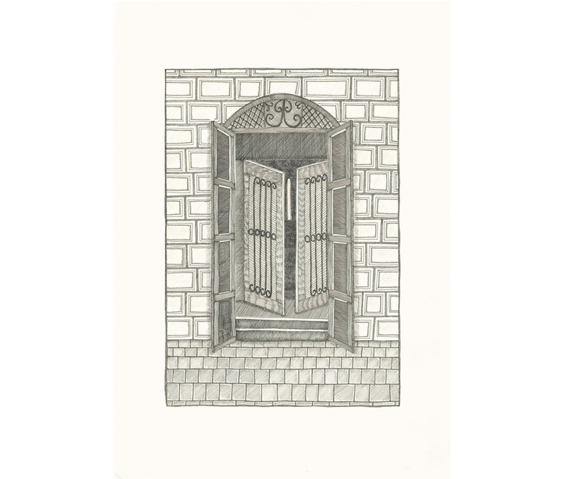 Three Gates, 2014. Ink pen and pink pencils on paper, 42 × 29.7 cm