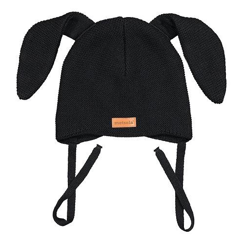 Merinowool Baby Beanie Bunny, Black