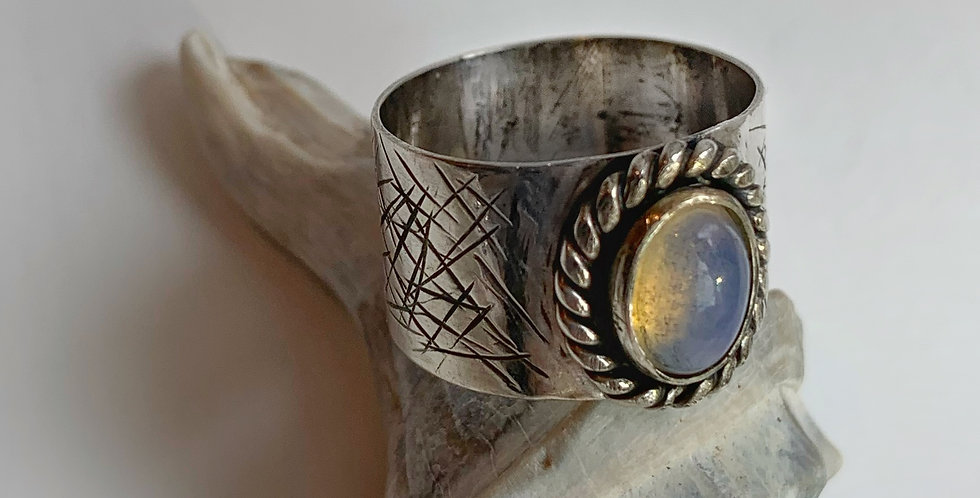 Sterling Silver Opal Ring Size 8