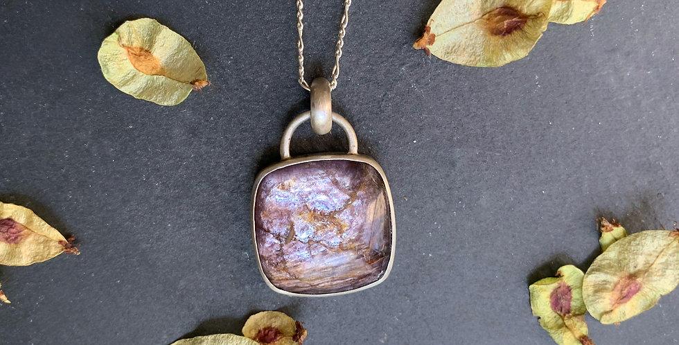 Sterling Silver Mica Lepidolite Stone Pendant