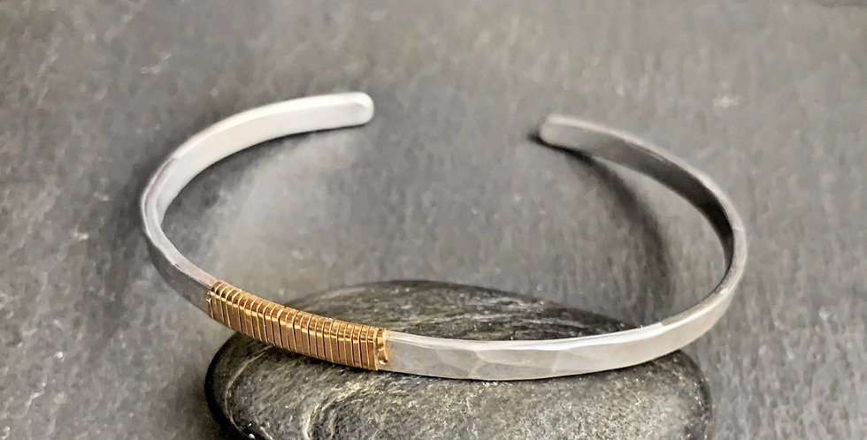 Sterling Silver, 14ct Gold Cuff.