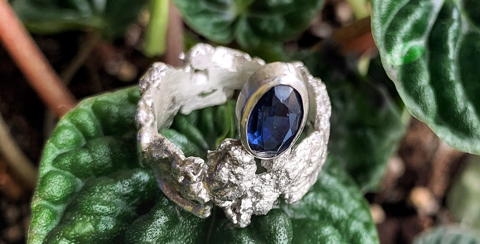 Sterling Silver Sapphire Ring Size 7
