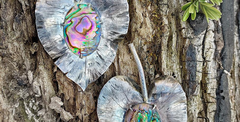Sterling Silver Abalone Shell Leaf Earrings.