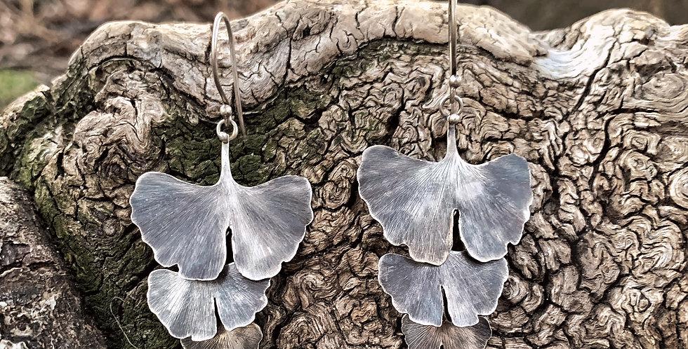 Gingko Leave Sterling Silver Earrings