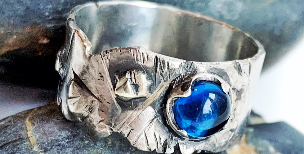 Sterling Silver Sapphire Ring Size 5.5