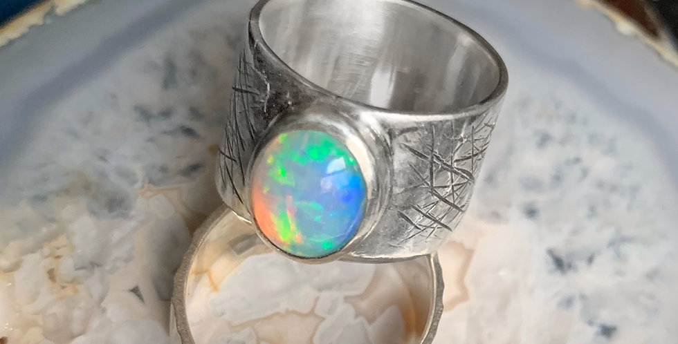 Opal Sterling Silver Ring Size 7