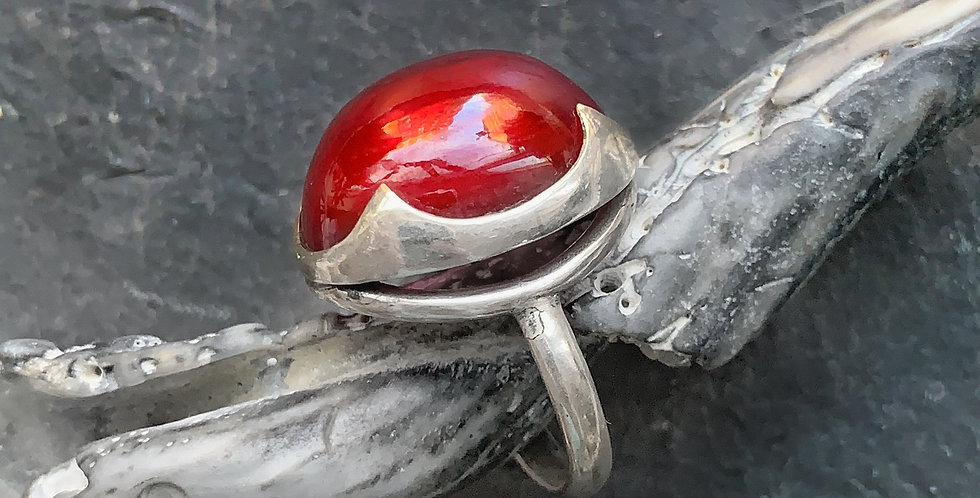 Ruby Sterling Silver Ring Size 7