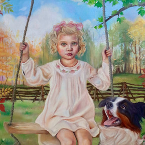 """Girl On a Swing- Oil on canvas 24x36"""""""