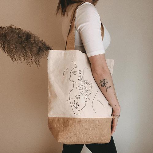 Jutebeutel Jute Bio Baumwolle Shopper Tragetasche Beutel Einkaufstasche Utensilo one line design nachhaltig schlicht lineart