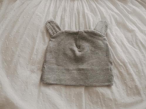 Mütze Kindermütze Beanie Öhrchen Bär gestreift grau weiß Newborn Babymütze Design kids baby