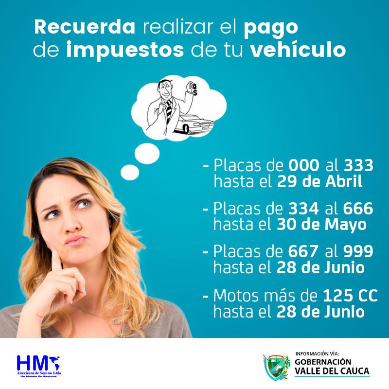 Fecha de pago impuesto vehicular 2019 Cali, Valle del Cauca