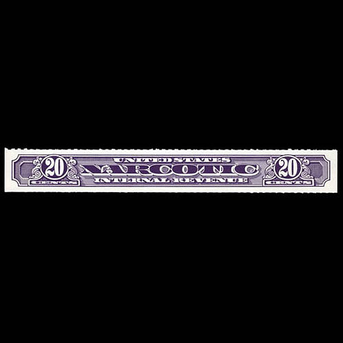 Narcotic Tax, 1963, 20¢ violet, rouletted 7 (Scott RJA99b),