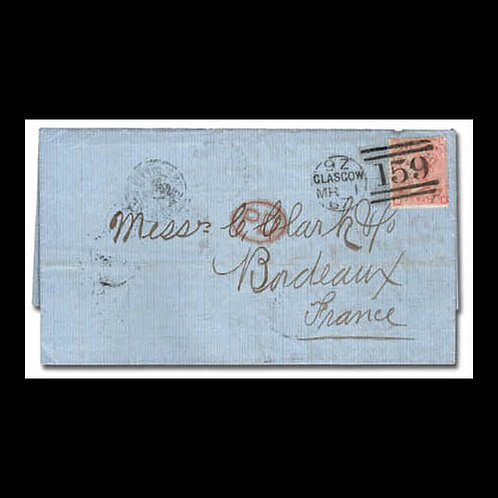 1867, folded letter from Glasgow to Bordeaux, France