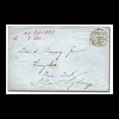 1887, cover from London to Sydney, Australia