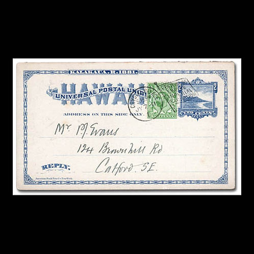 Hawaii, 1911, postal card to England