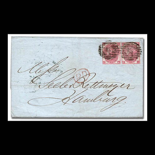 1866, folded letter from London to Hamburg, Germany