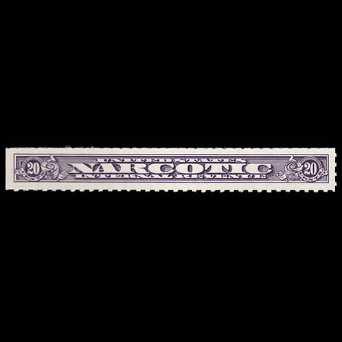 Narcotic Tax, 1919, 20¢ violet, rouletted 7 (Scott RJA58b),
