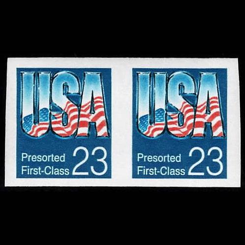 """1992, 23¢ """"U.S.A."""" coil, imperf (Scott 2607c)"""